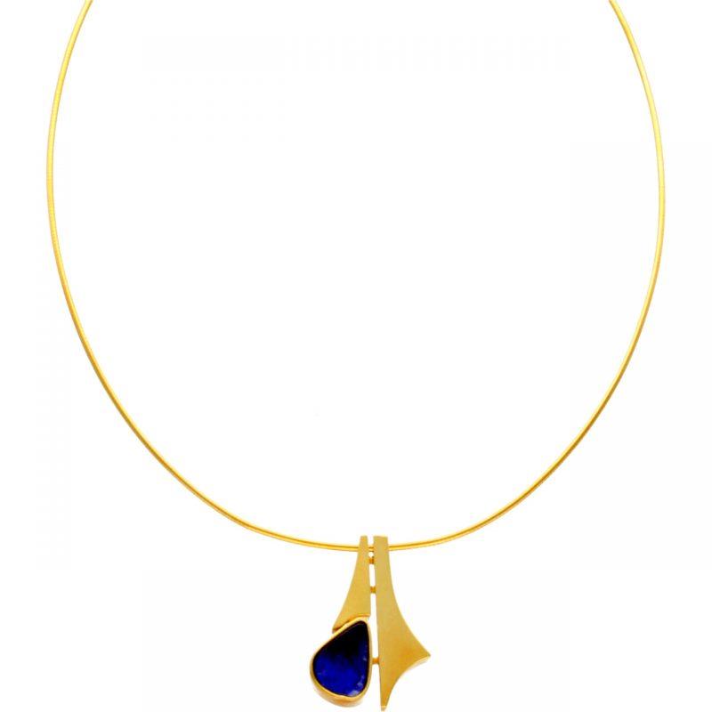 Collana moderna oro giallo con pendente lapislazzuli