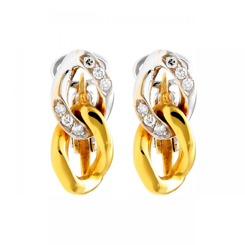 Chimento earrings yellow and white gold with diamonds