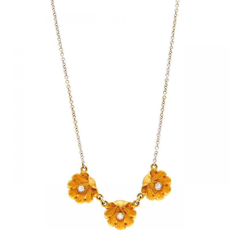 Collar de oro blanco y amarillo con diamantes