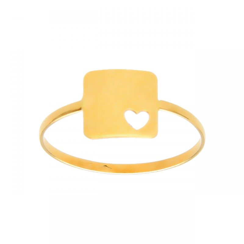 Yellow gold ring with heart