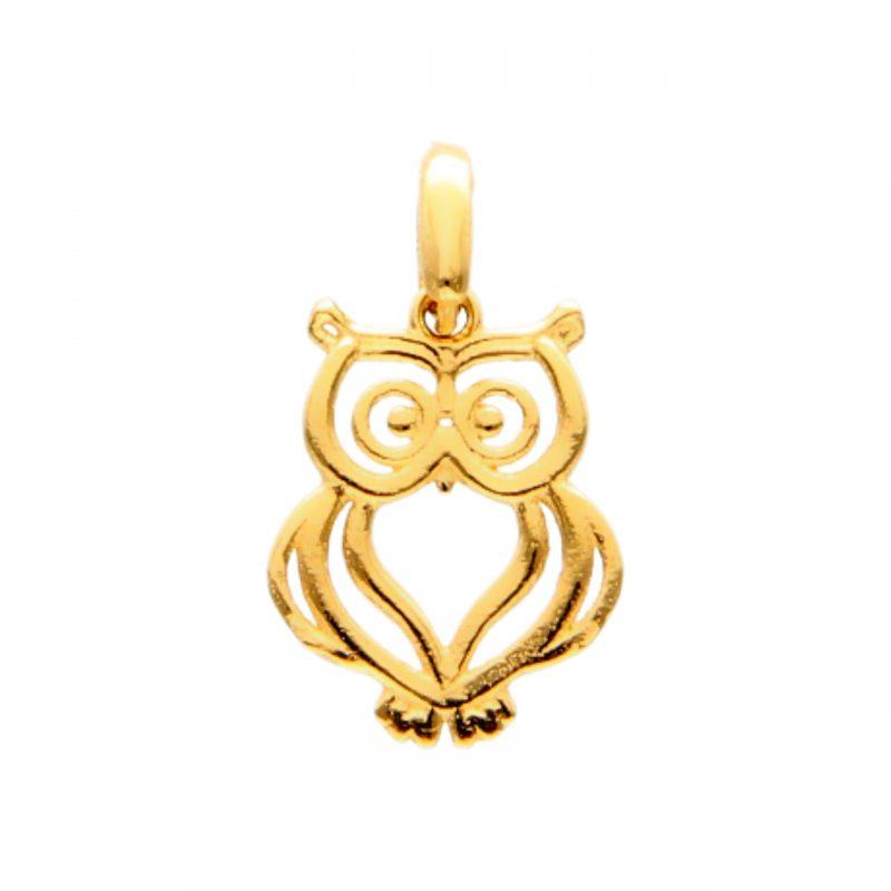 Owl pendant yellow gold