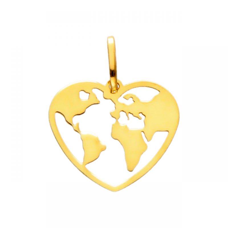 Herz-Welt Anhänger aus Gelbgold