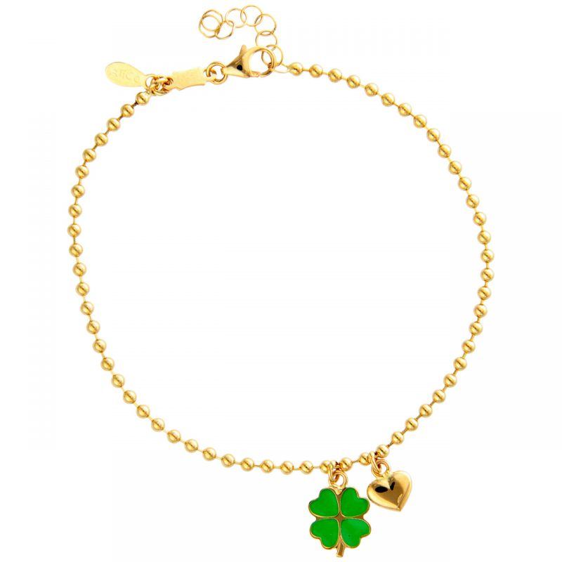 Yellow gold bracelet with charms Four-leaf clover and heart