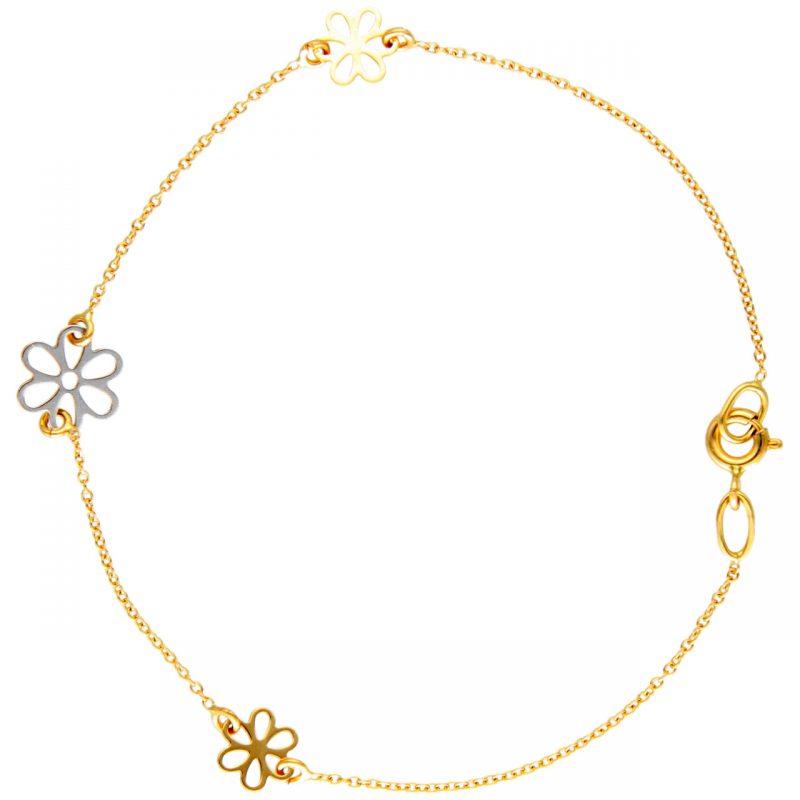 Armband aus Gelb- und Weißgold mit Gänseblümchen