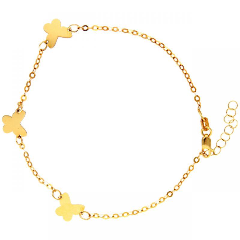 pulsera oro amarillo con tres mariposas