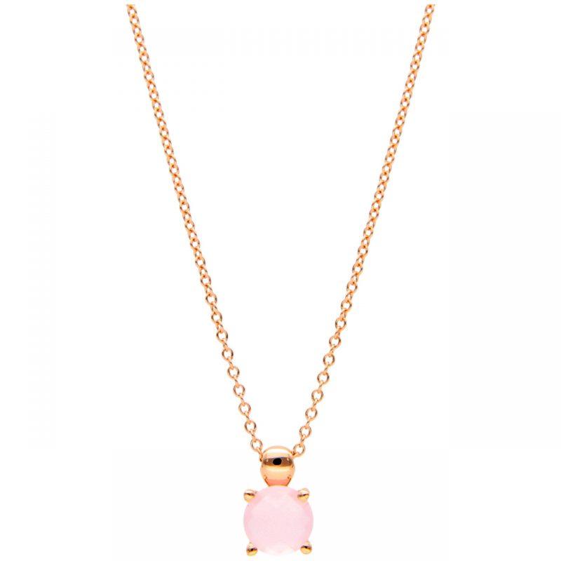 Collana oro rosa con pietra lilla