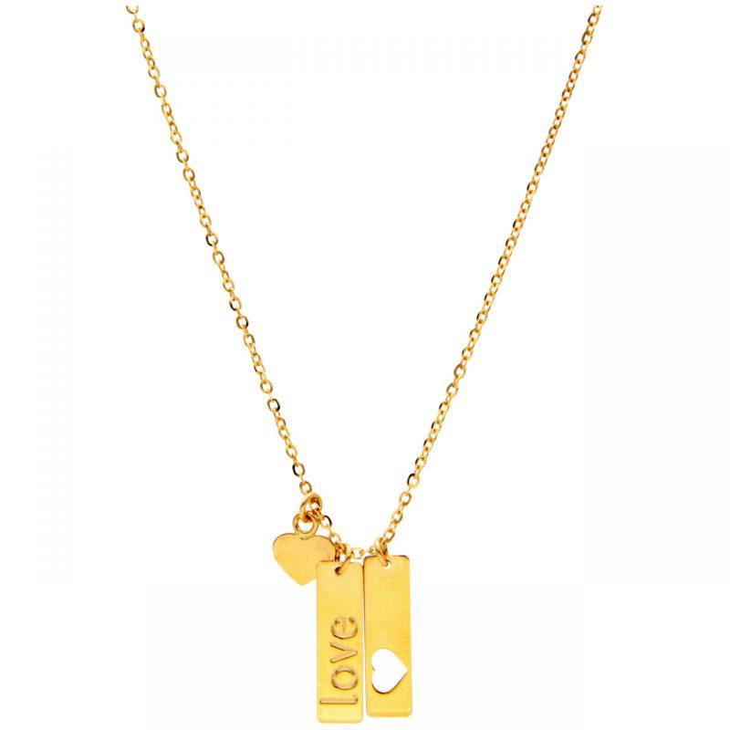 Gelbgold Halskette mit Liebe Anhänger