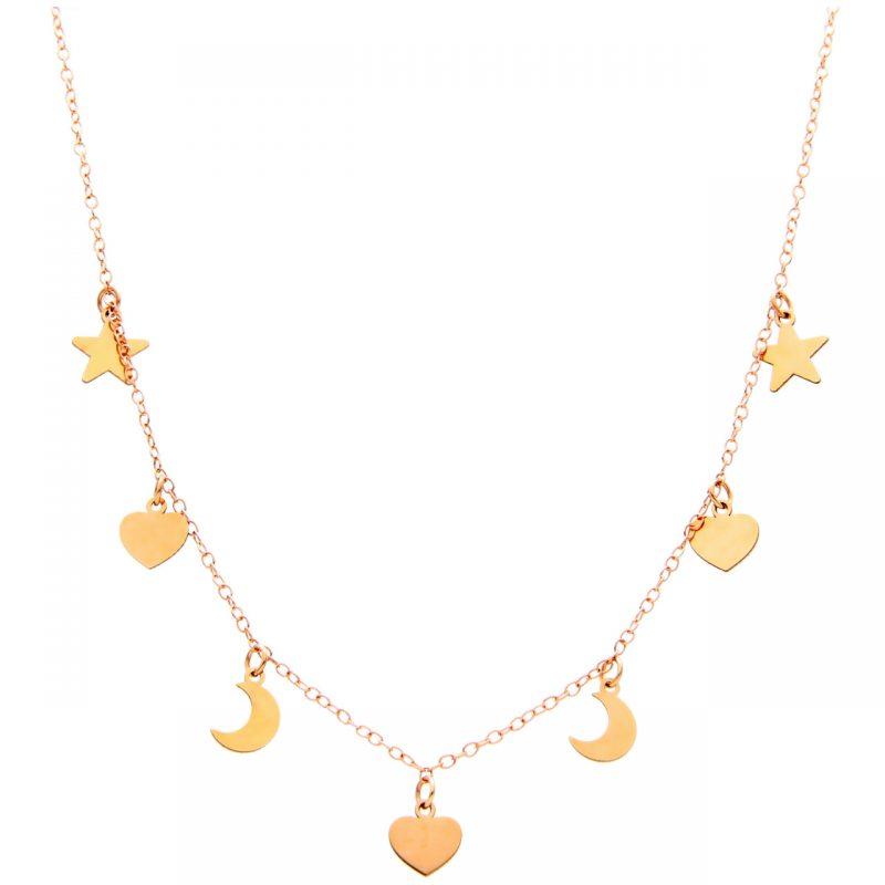 Collana con pendenti cuori lune e stelle oro rosa