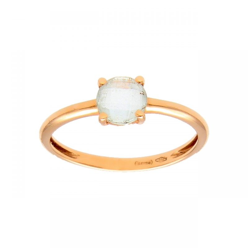 Rose gold ring with blue stone