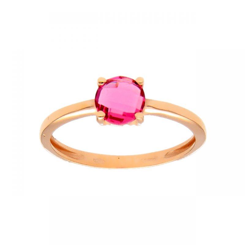 Anello oro rosa con pietra rosa