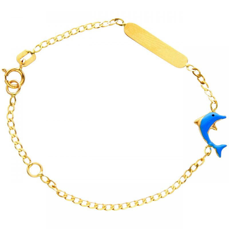 Baby bracelet yellow gold with dolphin