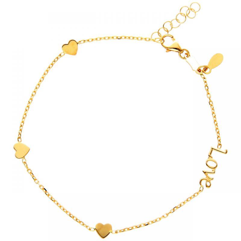 Pulsera LOVE con corazones oro amarillo