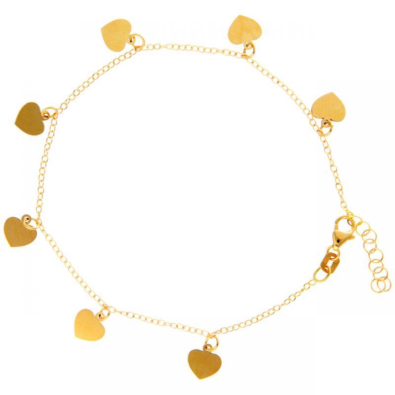 Pulsera oro amarillo con corazones