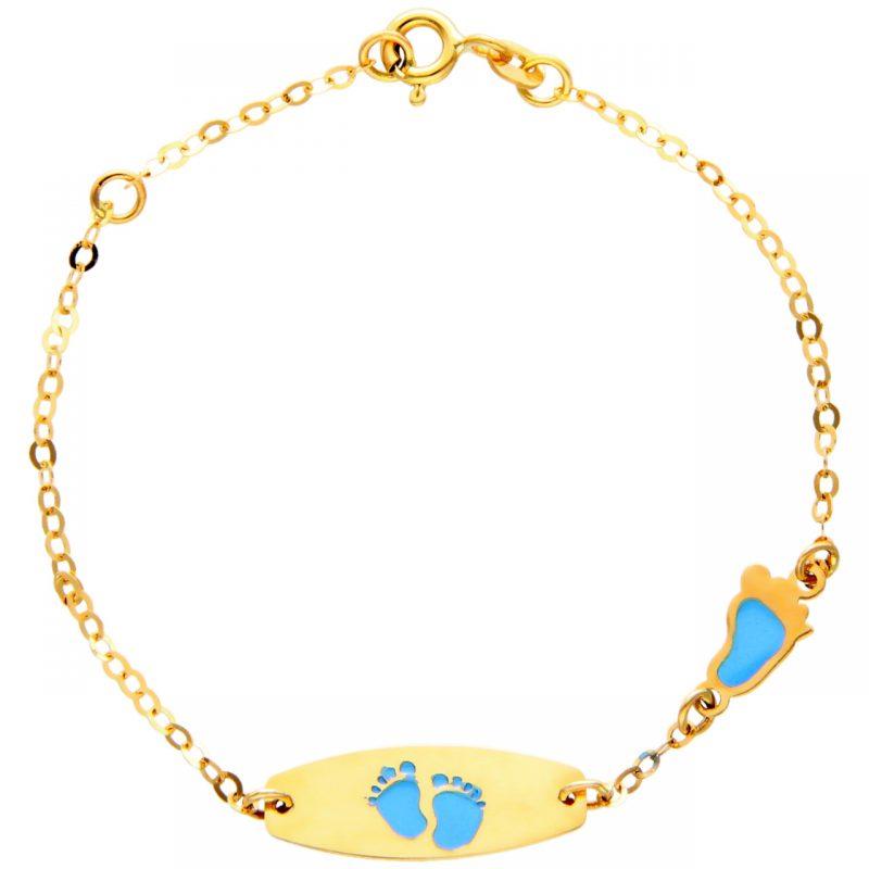 Baby Armband aus Gelbgold mit kleine Füße (rosa)