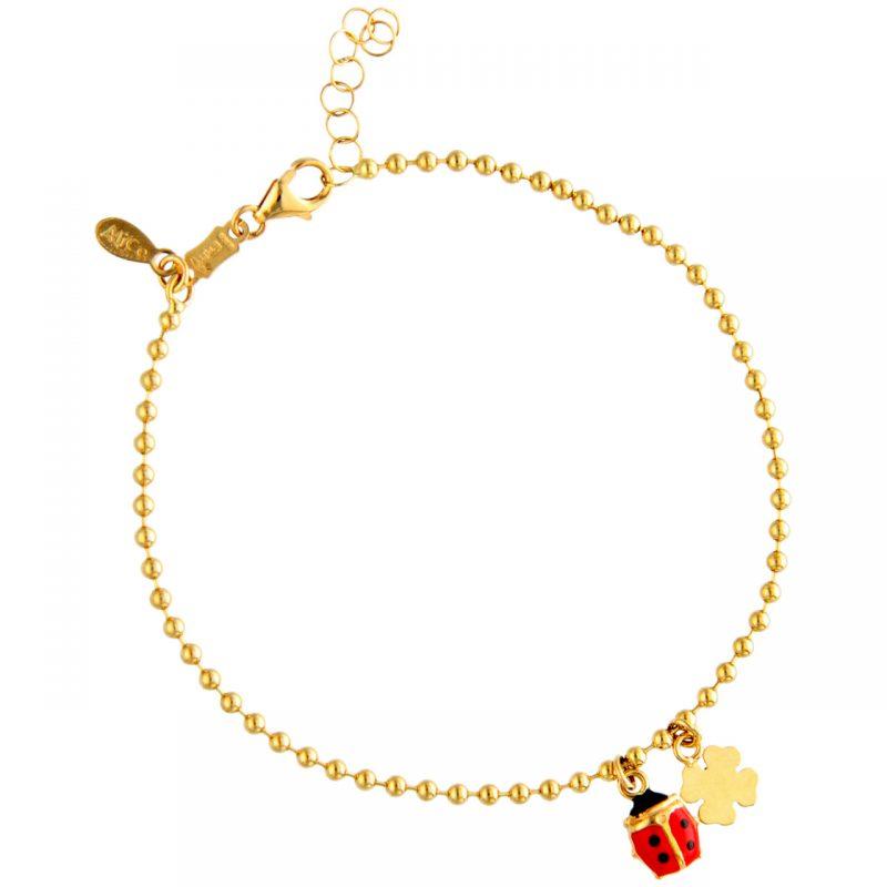 Armband aus Gelbgoldmit Kleeblatt und Marienkäfer Anhänger
