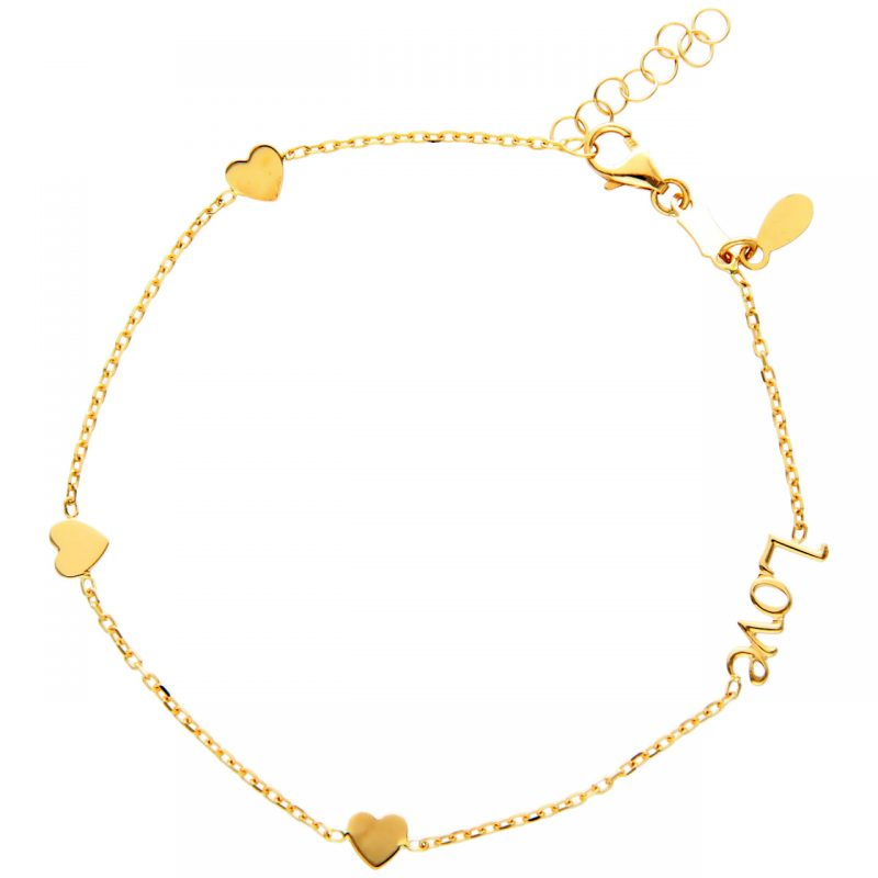 LOVE bracelet with hearts yellow gold