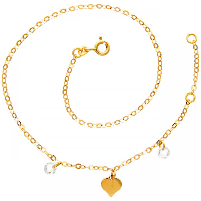 Ankle bracelet with Heart and Zircons yellow gold
