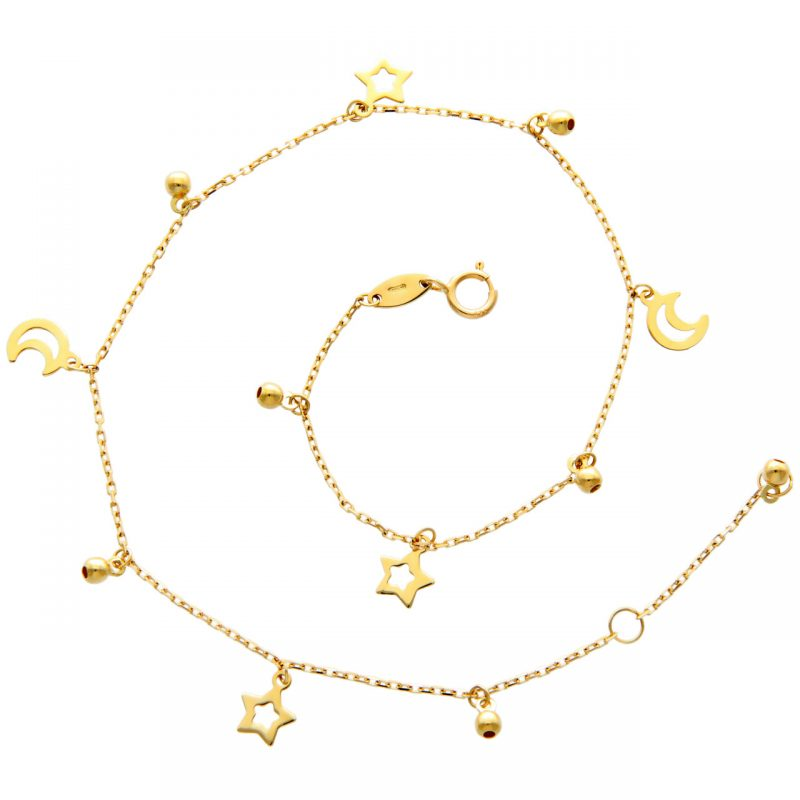 Ankle bracelet with Moons and Stars yellow gold