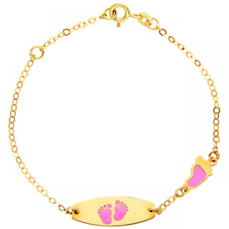 Bimbo bracelet yellow gold with blue feet
