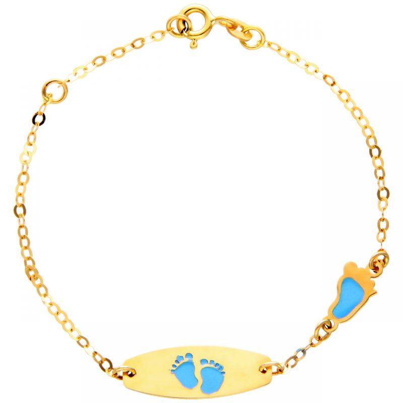 Baby bracelet yellow gold with pink feet