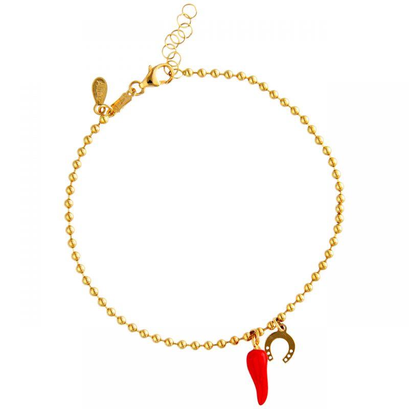 Pulsera oro amarillo con cuerno y herradura