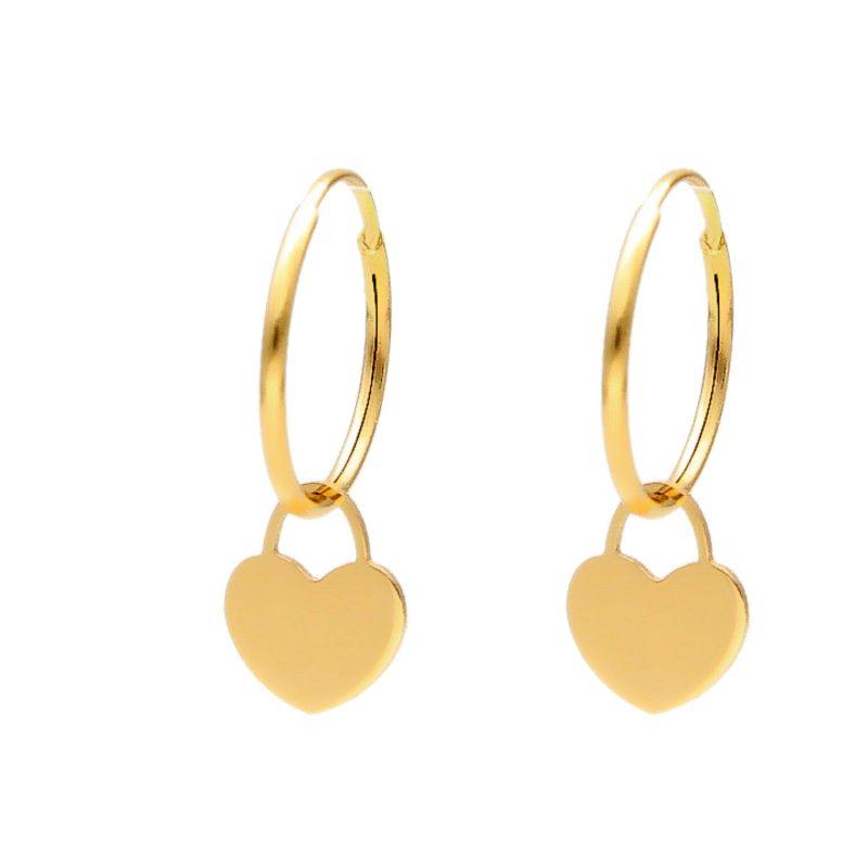 Orecchini cerchio con pendente cuore oro giallo