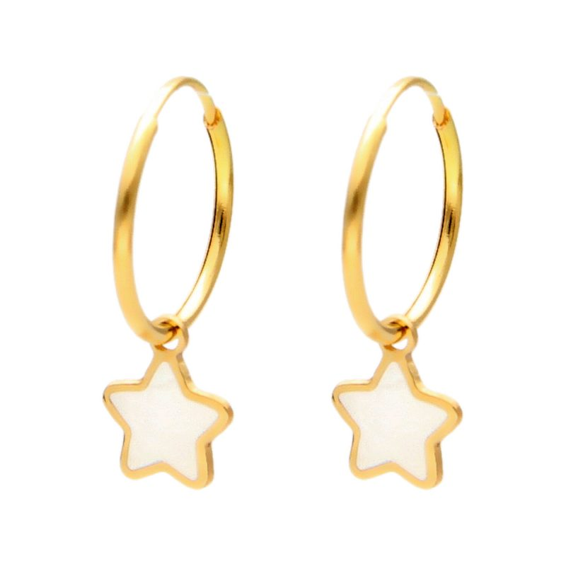 Hoop earrings with mother of pearl -star pendant yellow gold