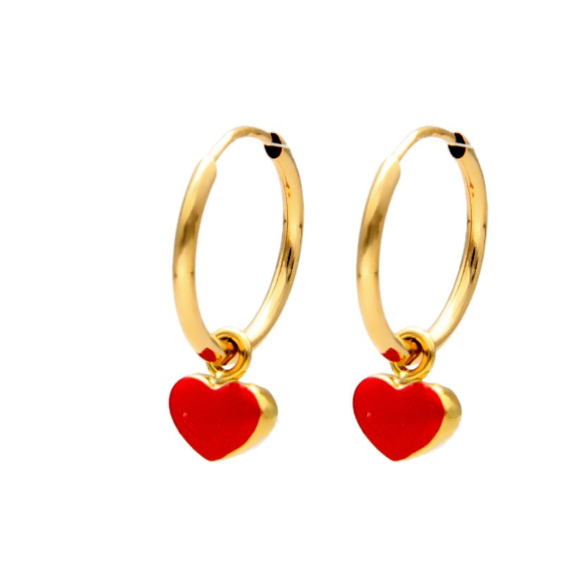 Hoop earrings with red heart pendant yellow gold