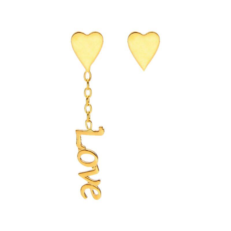 LOVE Ohrringe Gelbgold
