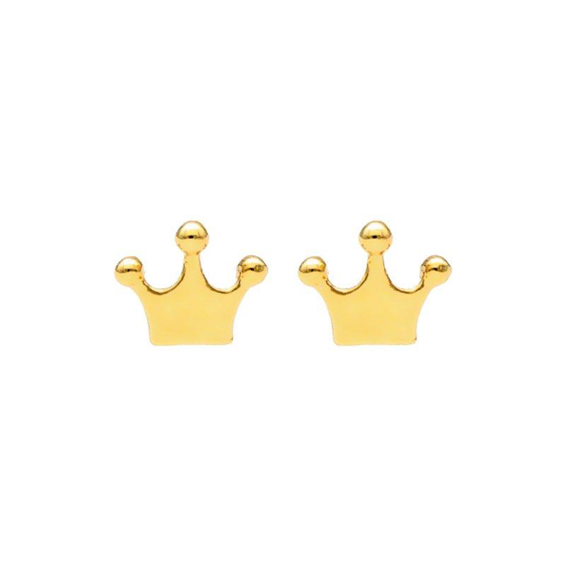 Krone Ohrringe aus Gelbgold