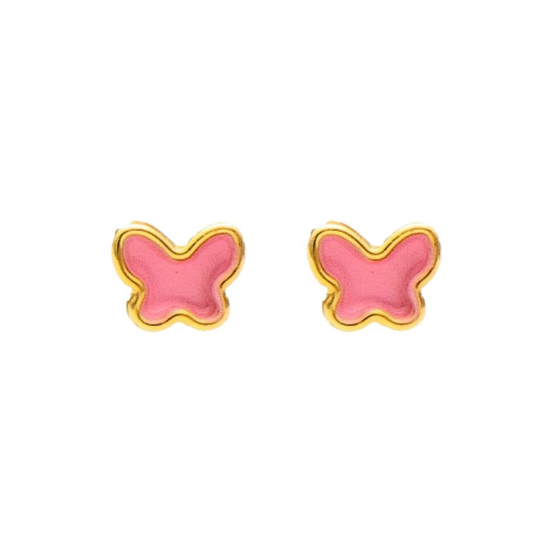 Earrings yellow gold with pink butterfly