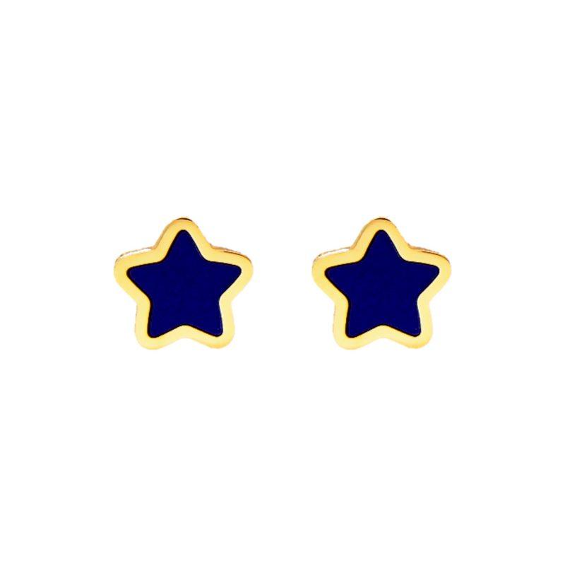 Ohrringe mit Blau Stern aus Gelbgold