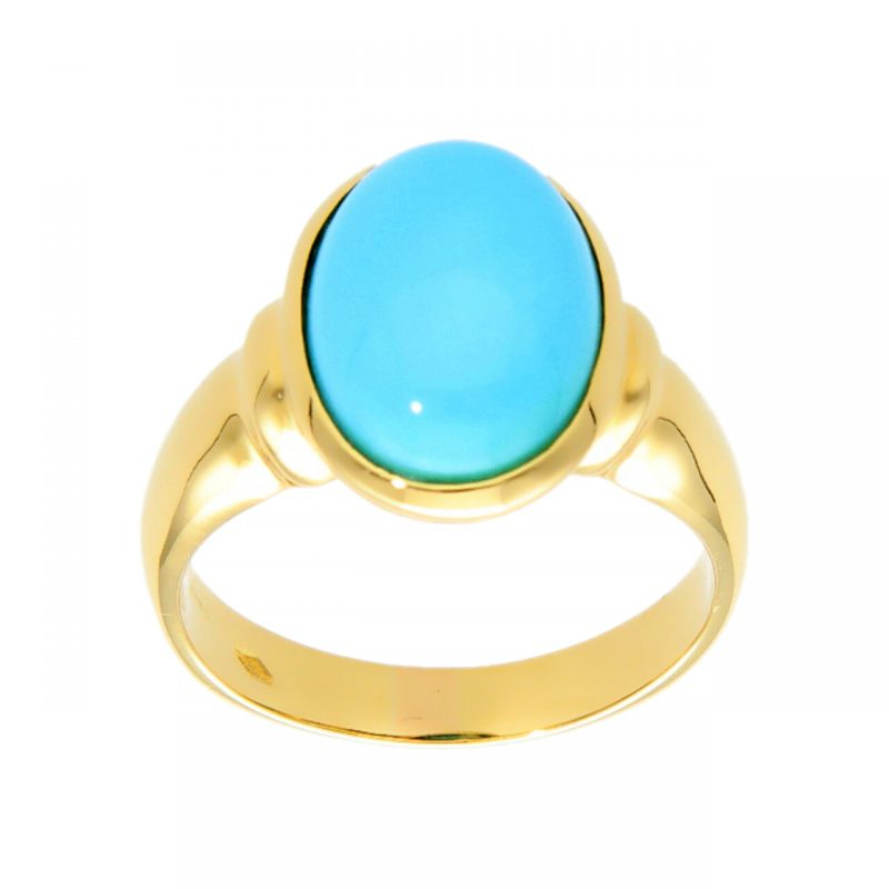 Yellow gold ring with turquoise cabochon