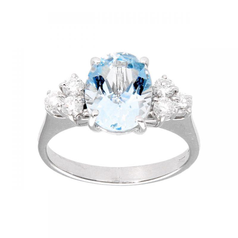 Ring aus Weißgold mit Aquamarin und Diamanten 0,42 ct
