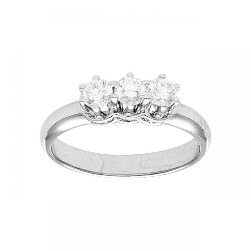 Anello Damiani Trilogy oro bianco con diamanti 0,54 ct IF/VVS1