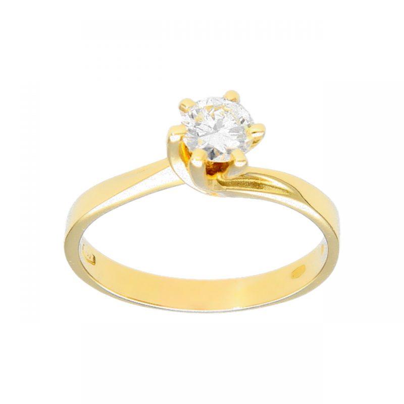 Gelbgold Solitärring mit Natürliche Diamant 0,50 VVS1/F