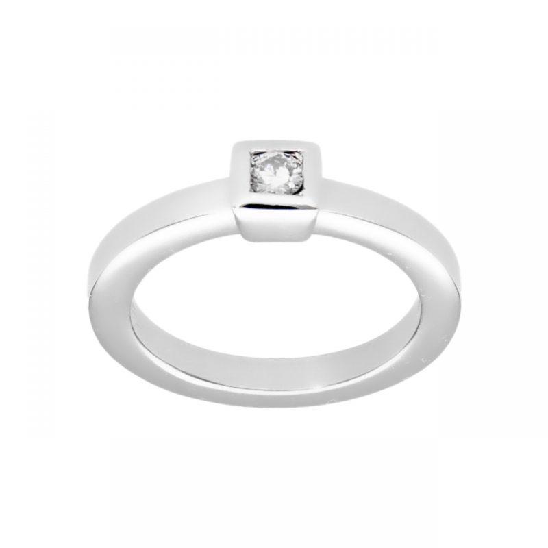 Modernes Weißgold Ring mit Diamant 0,15 ct