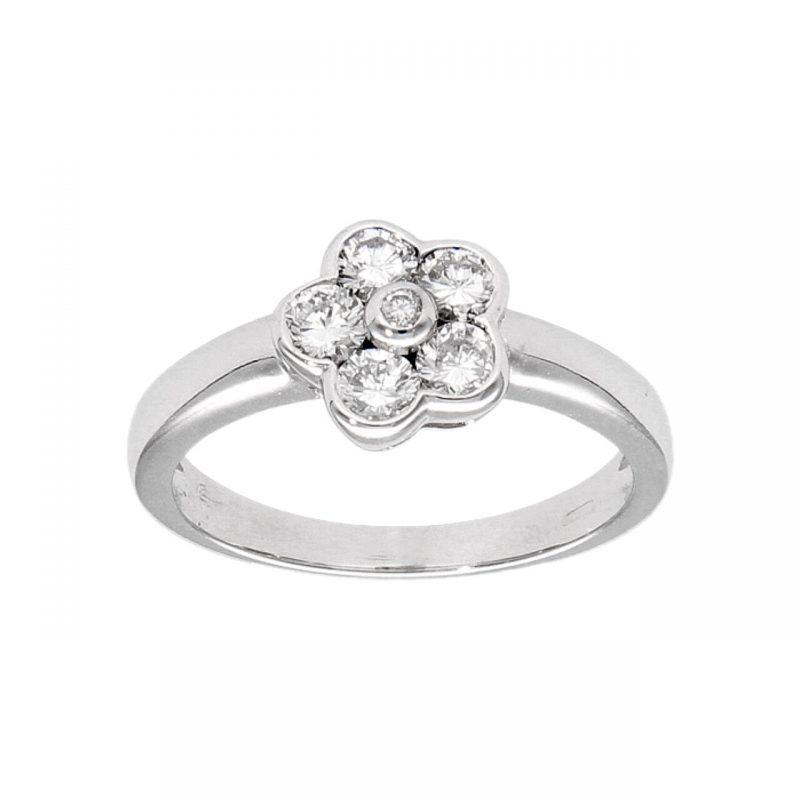 Anello oro bianco con fiore di diamanti 0,50 ct