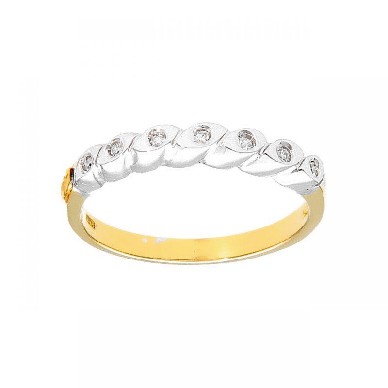Anillo media eternidad dos oros con diamantes 0.21 ct