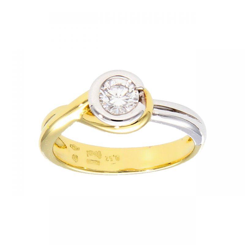 Anello Damiani oro giallo e bianco con Diamante 0,52 ct