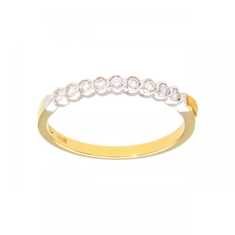 Eternity white and yellow gold with diamonds 0.18 ct