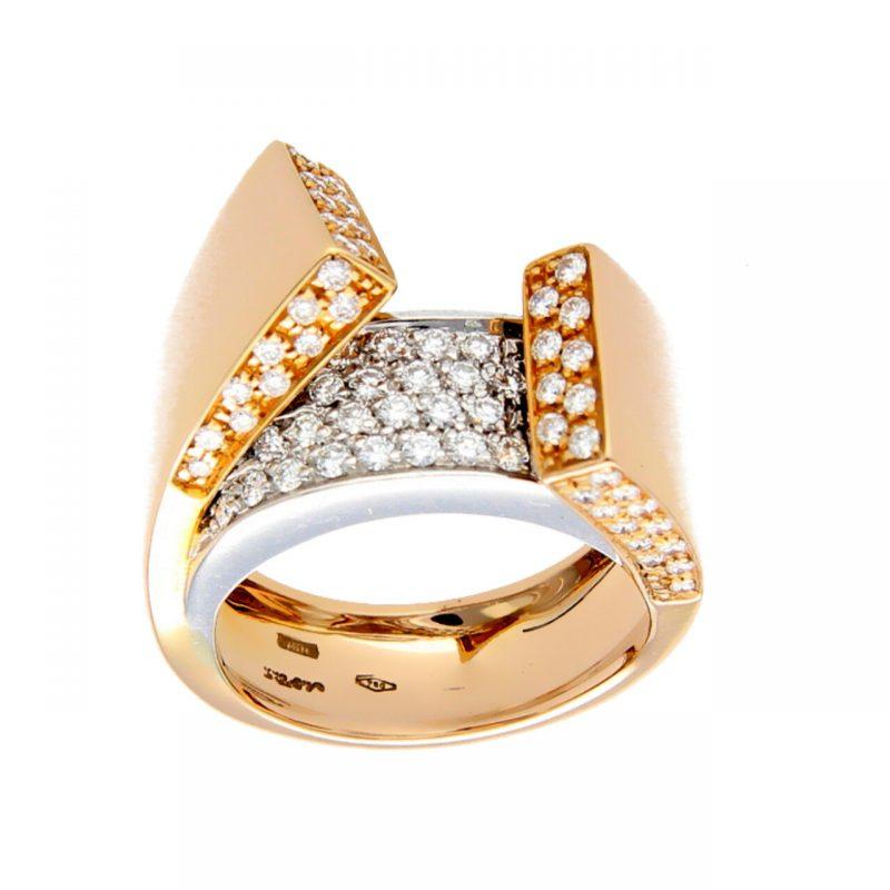 Anello due ori con diamanti 1,70 ct