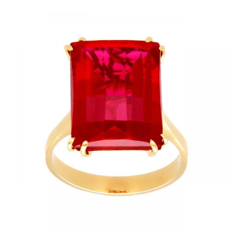 Gelbgold Ring mit rotem Stein