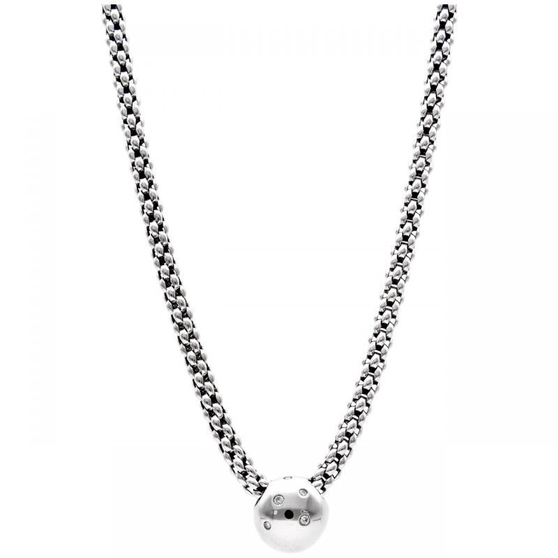 Collana con pendente FOPE oro bianco e diamanti