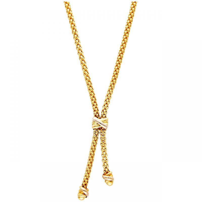 Collana FOPE oro giallo e bianco con pendente incorporato