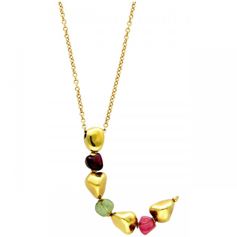 Yellow gold necklace with pendant nuggets