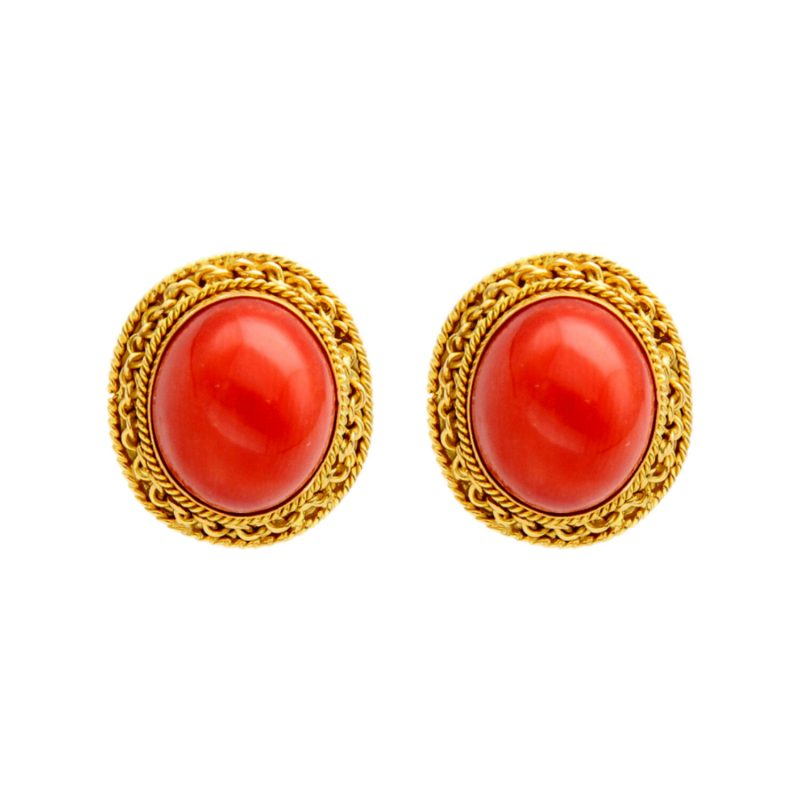 Earrings yellow gold with coral