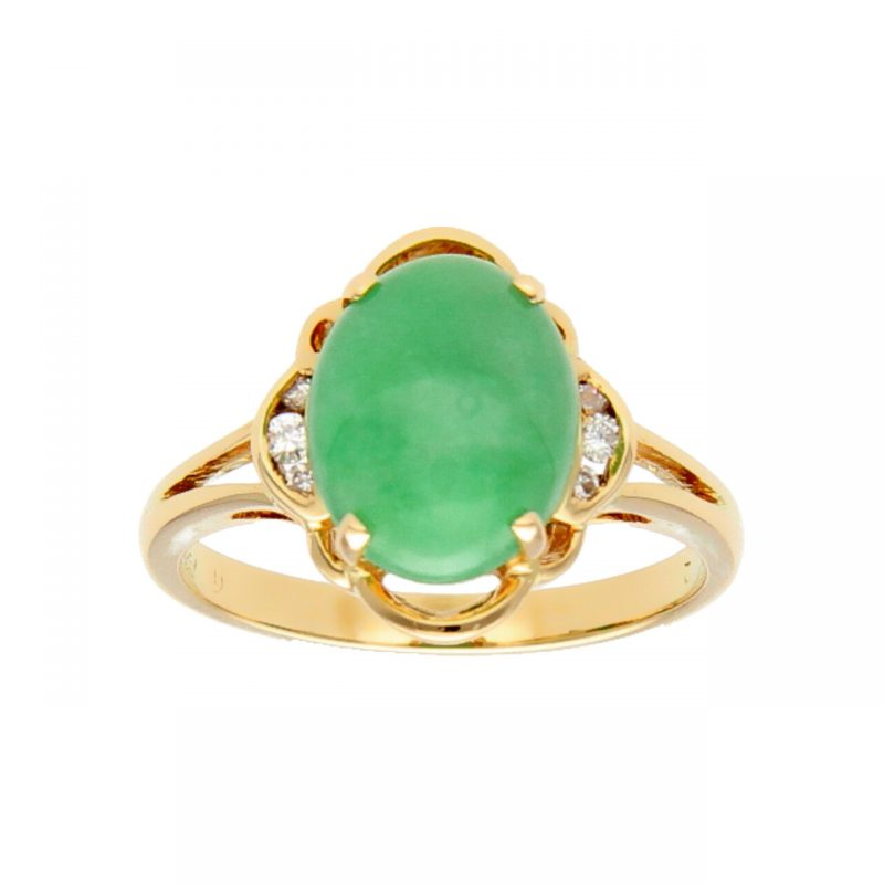 Ring yellow gold with emerald and diamonds