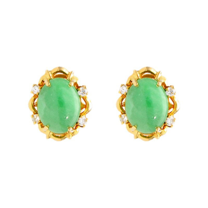 Orecchini oro giallo con  smeraldo cabochon e diamanti