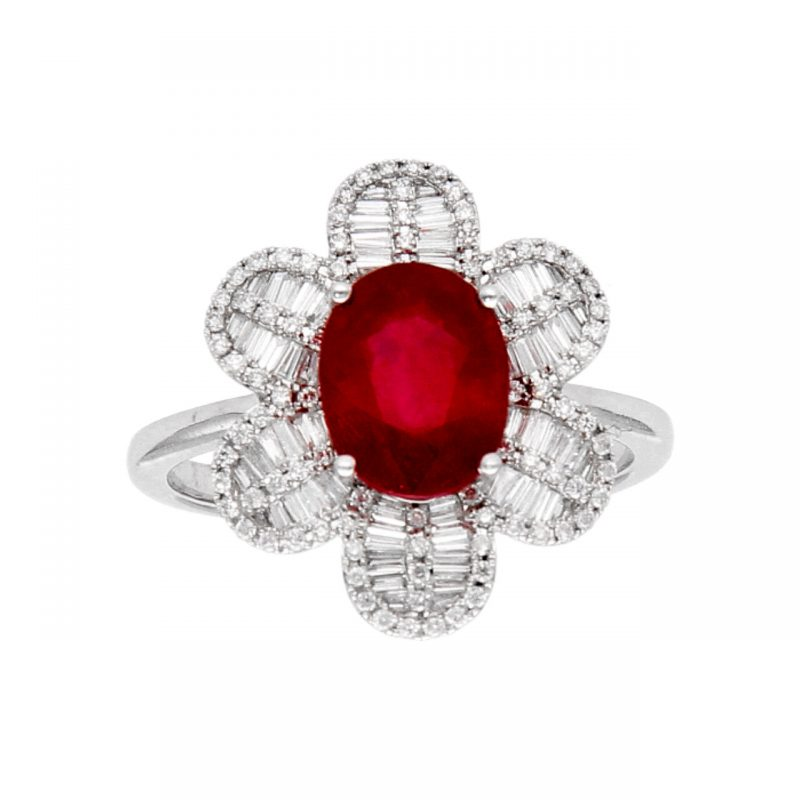 White gold ring with diamonds and ruby ??flower